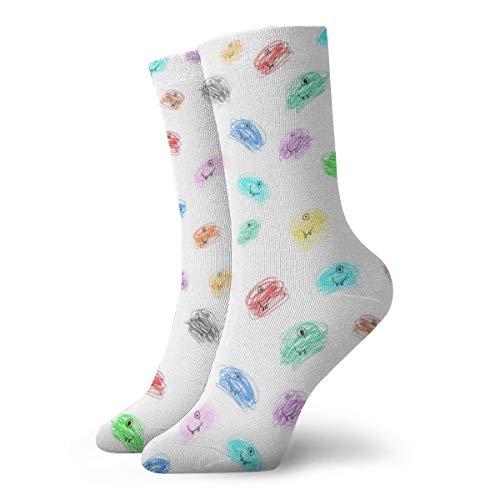 Liliylove Calcetines de senderismo para hombres y mujeres, para recrear al aire libre, con cojín absorbente, diseño de media pantorrilla, bonitos calcetines atléticos, desordenados monstruos