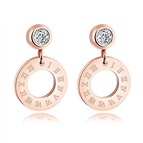 Pendientes de aro de acero inoxidable con circonita cúbica y diamantes de oro rosa para mujeres/niñas