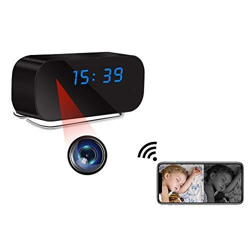Telecamera Spia Nascosta, LXMIMI 1080P 150° Grandangolare WiFi Telecamera Nascosta, Orologio 12/24 Videocamera Spia, Videocamera Nascosta di Visione Notturna Automatica con Rilevamento del Movimento