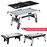 ESPN Sports Air Hockey Game Table: 84 Inch Indoor Arcade Gaming Set with Electronic Overhead Score System,...