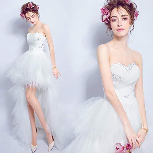 Vestido De Novia Para Mujer Vestido De Noche Sexy Blanco Frente Corto...
