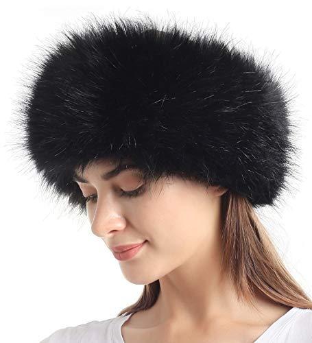 Faux Fur Headband with Elastic for Women's Winter Earwarmer Earmuff(one size,Black)