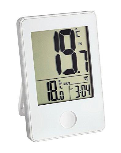 TFA Dostmann Pop Funk-Thermometer, Außen- oder Innentemperatur in Großformat, Anzeige der Uhr,L 60 x B 23 (50) x H 90 mm