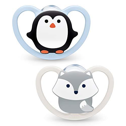 Nuk Ciuccio Space | 0-6 mesi | Succhietti con extra ventilazione | Silicone senza BPA | Pinguino e Volpe | 2 pezzi - 50 g
