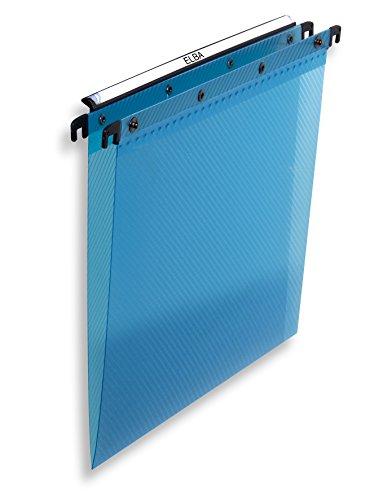 ELBA 100330382 Hängemappe Polypro Design 10er Pack für A4 mit V-Boden aus Polypropylen Kunststoff blau Schrank ideal für die lose Blatt-Ablage im Büro und der Behörde