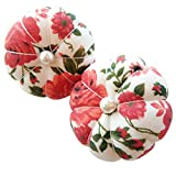 CUSHYSTORE 2X Red Wrist Flower Floral Garden Pin Needle Cushion Pincushion Adjustable Wearable Cute Small Pumpkin Pins Needles Pincushions Holder Safety Elastic Band for Sewing Girl Women Craft
