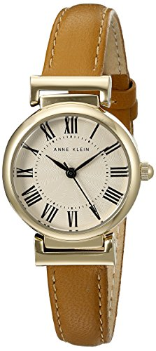 Anne Klein Women's AK/2246CRHY Gold-Tone and Honey Leather Strap Watch