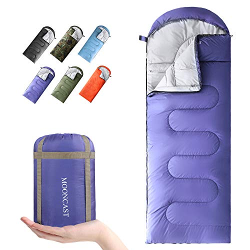 MOONCAST Sleeping Bag 4 Seasons - Warm & Cold Weather - Lightweight, Portable, Waterproof - Use for Kids, Teens & Adults for Hiking and Camping (Purple/Right Zip)