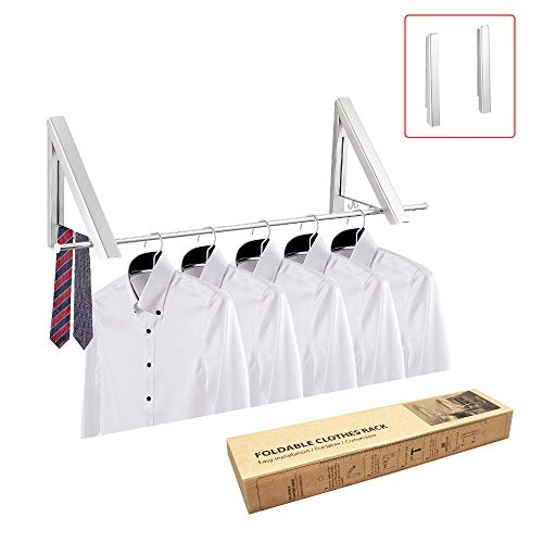 LEADWIN Laundry Rack Drying Racks for Laundry Foldable Mounted Laundry Rack Wall Mounted Clothes Hanger Rack Retractable Clothes Rack Collapsible Drying Rack Wall Hangers for Clothes