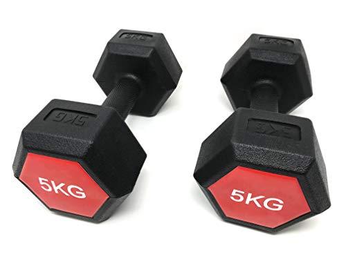 E-Deals - Set di manubri portatili da 2 x 5 kg con impugnatura esagonale, per la casa, aerobica
