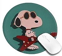 マウスパッド 丸型 スヌーピー ゴム製裏面 ゲーミングマウスパッド かわいい PC ノートパソコン 円形 デスクマット 滑り止め