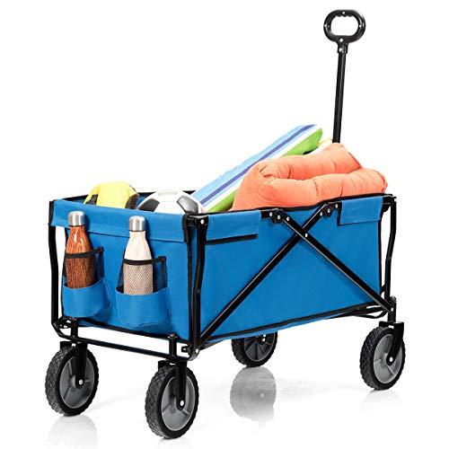 COSTWAY Bollerwagen klappbar, Handwagen mit Flaschenhalter, Transportwagen Rollwagen, Strandwagen 130kg Tragkraft, Gartenwagen Ideal zum Einkaufen, Strandausflug
