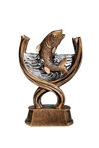 Henecka Angeln-Pokal, Angeln-Resinfigur Fisch, altgold mit Silber, mit Wunschgravur, Größe 16,8 cm
