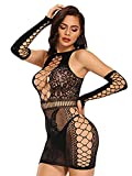 Barode Sexy Lingerie Teddy Bodysuit Fishnet Lingerie Sets Women's Outfit Babydoll Mesh Hole Chemise With Gloves Lace Stockings Sleepwear (Black)