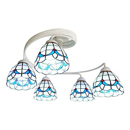Faus Koco LED Americano Tubo Curvado Lirio Azul Y Blanco 2 Cabeza Lámpara De Techo Artificial De Soldadura De Vidrio Lámpara De Techo Creativa Iluminación Muebles