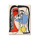 DFRES Pintor Famoso Pablo Picasso Mid Century Cuadros Abstractos De Pared ExposicióN PóSter LíNea Boceto ImpresióN En Lienzo Pintura Decoracion para Salon De Estar 30x40cm Sin Marco