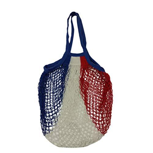 Grocery Bag Tuscom Reusable Mesh Shopping Bag Foldable Produce Bag Washable Cotton String Grocery Tote Bag Net Turtle Bag Long Handle Fruit Storage Handbag Recyclable Packaging Bags Multicolor