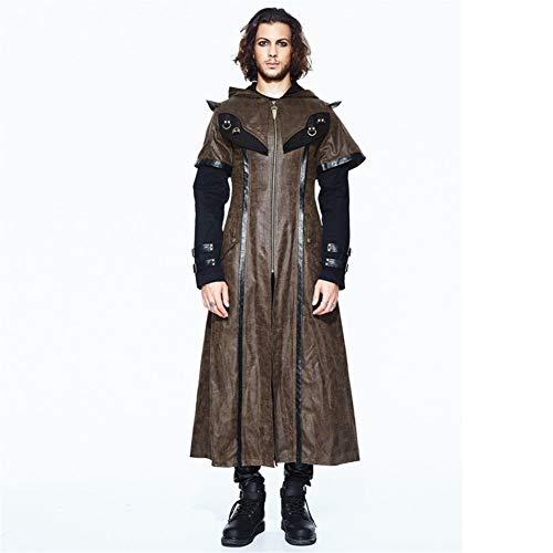 LHQ-HQ Halloween Kostüm Cosplay Flut Mode Gefälschte Zweiteilige Lange Schlanke Schlanke Mantel Dicke Jacke Männlich Gothic Kleidung (Color : Brown, Size : M)