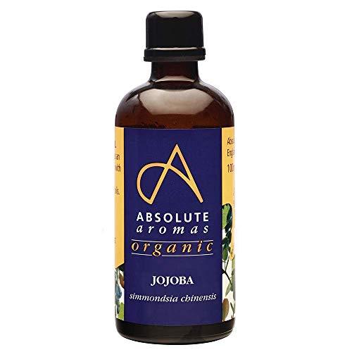 Absolute Aromas Huile de Jojoba Bio en Bouteille de Verre 100ml - Pure, naturelle, pressée à froid, végétalienne et sans cruauté - Huile pour massage et hydratant pour cheveux, visage, peau et ongles