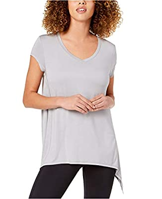 Ideology Short Sleeve V-Neck Draped Activewear T-Shirt; Grey Whisper (Large)