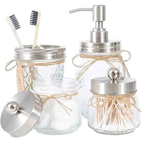 Conjunto de accesorios de baño de masón (4 piezas) -Mason Espuma Mano desinfectante Dispensador y soporte de algodón Set de Soporte de algodón y titular de cepillo d