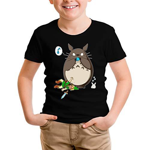Okiwoki T-Shirt Enfant Garçon Noir Parodie Zelda - Link et Totoro - en scred (T-Shirt Enfant de qualité Premium de Taille 13-14 Ans - imprimé en France)