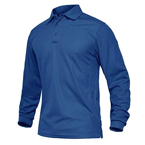 EKLENTSON Camicie da uomo a maniche lunghe militari Polo Traspirante Golf Sport Top Leggero Quick Dry Tactical Shirt Colore blu S