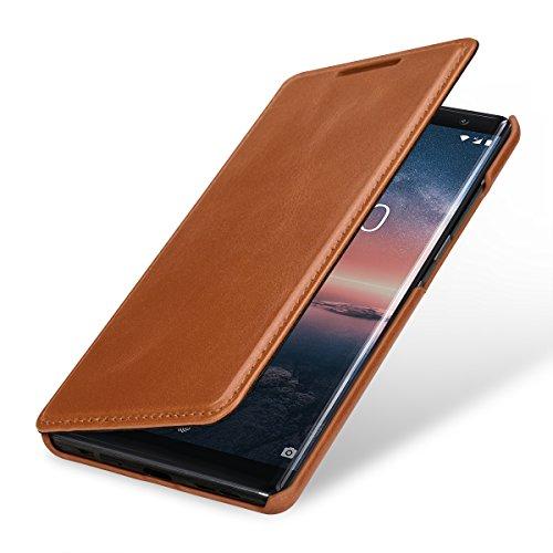 StilGut Book Type Hülle, Hülle Leder-Tasche kompatibel mit Nokia 8 Sirocco, Cognac