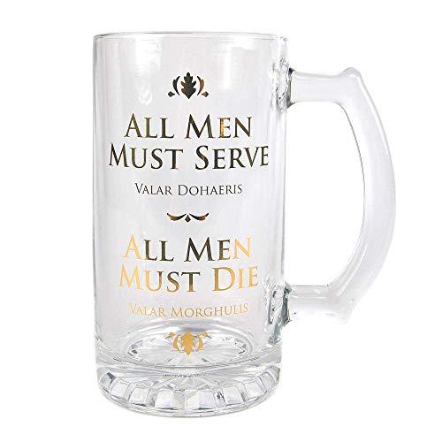 HBO Juego de Tronos – Jarra de cerveza de cristal – All Men Must Die – Valar Morghulis – 500 ml – Caja de regalo