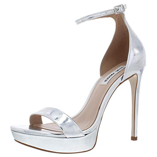 Steve Madden Womens Starlet Open Toe Ankle Strap Classic, Silver Metal, Size 9.0