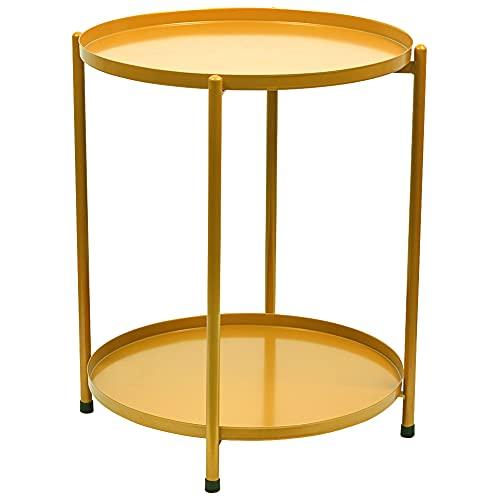 H JINHUI Tavolino rotondo in metallo con doppio ripiano, vassoio rimovibile, comodino per snack, per esterni e interni, antiruggine e impermeabile (dorato)