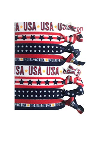 8 Piece Red White and Blue Patriotic Hair Elastic Set - Hair Accessories- USA Hair Ties Gift, American Flag Accessory, Stars & Stripes, 4th of July- Independence Day - Land of the Free - Made in USA