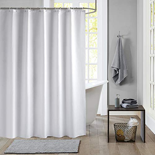 Meiosuns Duschvorhang Weiß Peva Wasserdicht & Mildewproof Duschvorhänge Wohnaccessoires mit Rostschutz Ösen & Vorhang Haken (Weiß, 80×180cm)
