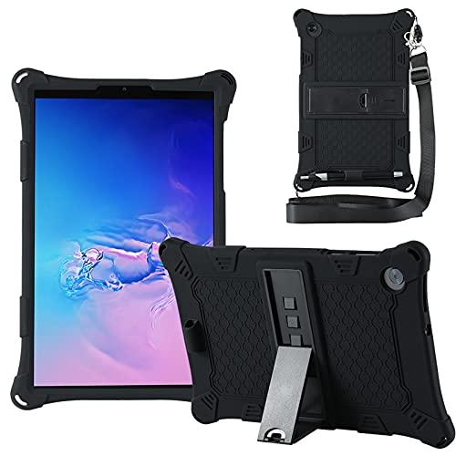 KATUMO Custodia Compatibile con Lenovo M10 HD 10.1' 2a Generazione 2020 (TB-X306F/X306X), Silicone Cover per Lenovo M10 FHD 10,3' 2020 (TB-X606F/X606X) Strappo e Tablet Stylus Pen,Nero