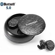 Wireless Bluetooth Kopfhörer, Tronsmart Bluetooth 5.0 TWS Sports kabellose Kopfhörer 12 Stunden Wiedergabezeit mit Ladestation und Mikrofon kompatibel mit alle Bluetooth-Geräte. - schwarz