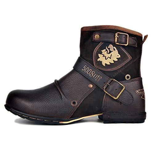 OSSTONE Herren Leder chukkastiefel Worker Biker Boots-Motorrad-Leder-Schuhe für reißverschluss Schnürstiefeletten Boots 5008-1-N Braun Wildleder 9