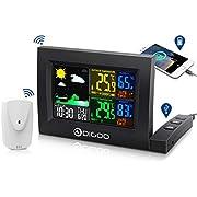 DIGOO DG-TH8530 Stazione Meteo Wireless, igrometro da Esterno per Interni con Porta di Ricarica USB, Controllo vocale, Doppia Sveglia