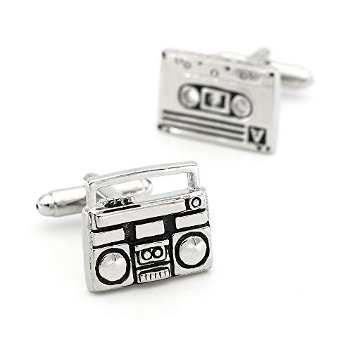 XpFac Store Kassettenrekorder Manschettenknöpfe für Männer Tape Music Player Design Qualität Messing Material Schwarz Farbe Manschettenknöpfe