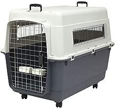 SportPet Designs Plastic Kennels Rolling Plastic Wire Door Travel Dog Crate- XX-Large
