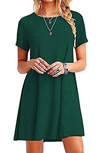 YOUCHAN Kleid Damen Sommerkleid Freizeitkleid Shirtkleid T-Shirt Bluse Tunika Kurzarm Leger Langes Locker Kleider Dunkelgrün S