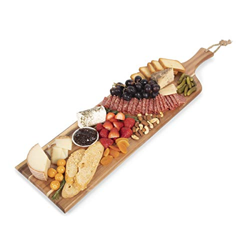 TOSCANA - a Picnic Time brand Artisan Raw Wood Edge Charcuterie Boards, 30-inch
