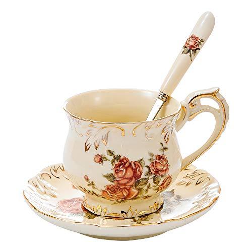 Panbado, Kaffeeservice aus Porzellan, mit 250 ml Kaffeetasse, Untertasse und Löffel, Cremefarben