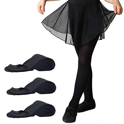 MANZI 3 Paar Frauen Mädchen Basic Cabrio Ballett Tanz Strumpfhosen mit variablem Fuß,Kinder,Erwachsene 40 den, Schwarz, Small(Age 4-6)