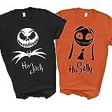 Her Jack His Sally Skellington Nightmare Halloween Shirts For Disney Couples Family Vacation 2021 Men Women Kids (Ladies M, Orange)