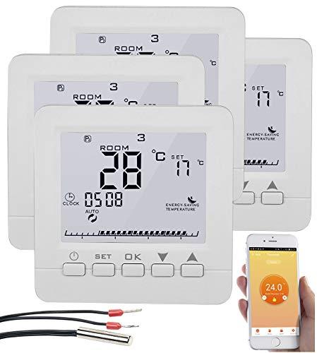 revolt Wandthermostat: 4er-Set WLAN-Thermostate für Fußbodenheizung, für Siri, Alexa & GA (Heizungssteuerung)