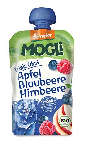 MOGLi Bio Demeter Trink Obst Quetschbeutel Blaubeere 12er Quetschie Pack (12x100g)