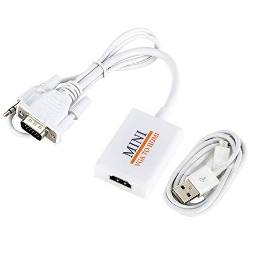 Zinniaya Cable convertidor VGA a HDMI Cable Adaptador Macho a Hembra para computadora portátil Destop a TV Monitor de proyector con Cable USB de Audio