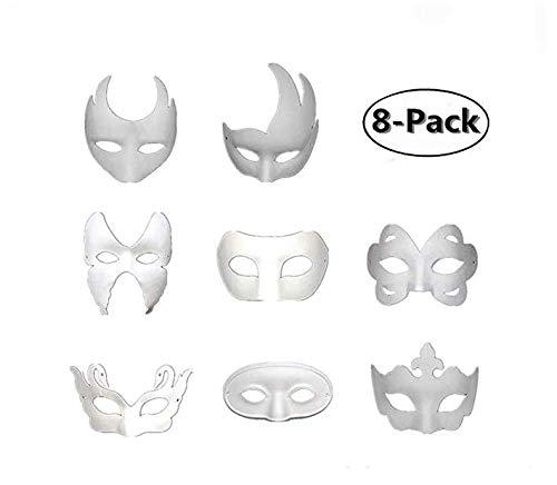 Skyoo 8 STKS DIY Wit Masker, Papier Half Gezicht Opera Maskerade Masker Plain Masker Halloween Masker Mardi Gras Masker