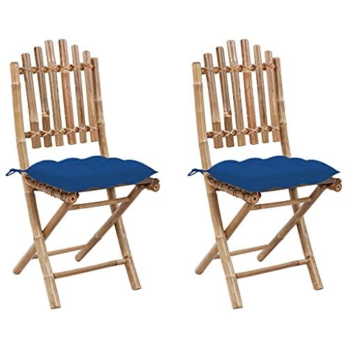 vidaXL 2X Gartenstuhl Klappbar mit Kissen Essstuhl Klappstühle Klappstuhl Gartenstühle Stuhl Stühle Balkonstuhl Terrassenstuhl Gartenmöbel Bambus