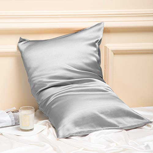 MANSPHIL 100% Mulberry Silk Pillowcase for Hair and Skin Queen Size, 22 Momme 600 Thread Count Natural Silk Pillowcase with Hidden Zipper, Both Side Pure Silk Pillow Cases - Silver Grey